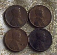 1916,19,25,30 LINCOLN WHEAT CENT'S   4 COIN'S   ITM 5922