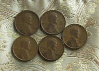 1923,24,25,26,27 LINCOLN WHEAT CENT'S   5 COIN   ITM 6574