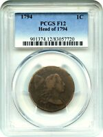 1794 1C PCGS F12 HEAD OF 1794 POPULAR EARLY LARGE CENT - LARGE CENT