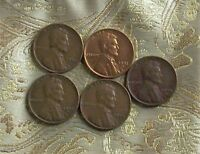1950-D,1951-D,1952-D,1953-P,1954-D LINCOLN WHEAT CENT'S  5 COIN   ITM 6559