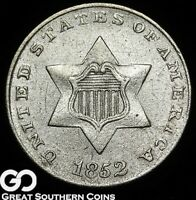 1852 THREE CENT SILVER PIECE, HIGHLY SOUGHT AFTER SILVER TYPE