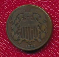 1871 TWO CENT PIECE INTERESTING TYPE COIN SHIPS FREE