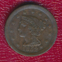 1852 BRAIDED HAIR LARGE CENT INTERESTING TYPE COIN SHIPS FREE