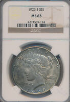 1923-S PEACE SILVER DOLLAR -STUNNING COIN NGC CERTIFIED MINT STATE 63 SHIPS FREE