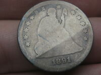 1891 SILVER SEATED LIBERTY QUARTER- GOOD DETAILS, FULL DATE