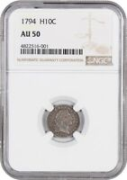 1794 H10C NGC AU50 -  FIRST YEAR OF ISSUE HALF DIME - EARLY HALF DIMES