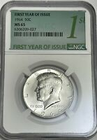 1964 P NGC MS65 SILVER KENNEDY HALF DOLLAR FIRST YEAR ISSUE LABEL 90  COIN JFK