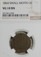 BETTER DATE 1864 SMALL MOTTO TWO CENT PIECE  NGC VG10
