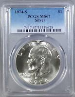 1974 - S  SILVER EISENHOWER DOLLAR -  PCGS  MINT STATE 67