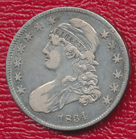 1834 CAPPED BUST SILVER HALF DOLLAR TONING HIGHLIGHTS FEATURES SHIPS FREE