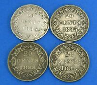 4  NEWFOUNDLAND VICTORIA TWENTY CENT CANADA COIN LOT   1882