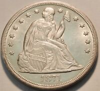 1871 SEATED LIBERTY ONE DOLLAR AU/UNCIRCULATED DETAILS SCARC