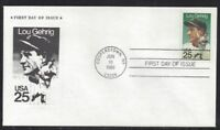 2417 LOU GEHRIG FIRST DAY COVER WITH GEHRIG STAMP CACHET