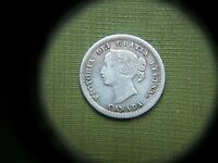 1858 CANADA   CANADIAN QUEEN VICTORIA. SILVER 5 CENTS COIN: