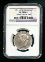 1894 NEWFOUNDLAND 50 CENTS NGC CERTIFIED AU SURFACE HAIRLINES F23