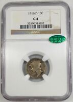 1916 D MERCURY DIME NGC G4 CAC   GRADED KEY DATE COIN   CAC