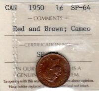 CANADA 1950 SPECIMEN CENT ICCS SP 64 RED AND BROWN CAMEO