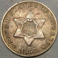1853 THREE CENT SILVER  APPEALING CIRCULATED FEATURESHUGE BIDATHON EVENT