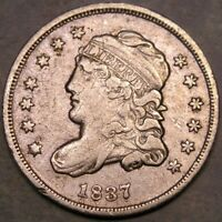 1837/7 CAPPED BUST SILVER HALF DIME APPEALIN  REPUNCHED DATE