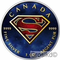 CANADA 2016 SUPERMAN 1 OZ SILVER COLOR COLORED MINTAGE 100 P