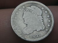1837 CAPPED BUST HALF DIME- LARGE 5C, FULL DATE