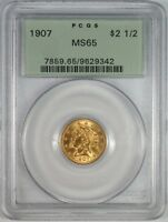 1907 $25 GOLD QUARTER EAGLE COIN OGH PCGS MS65   OLD GREEN H