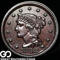 1848 LARGE CENT, BRAIDED HAIR,  EARLY COPPER