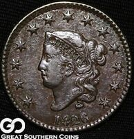 1826 LARGE CENT, CORONET HEAD, TOUGH EARLY COPPER