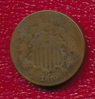 1870 TWO CENT PIECE INTERESTING TYPE COIN SHIPS FREE