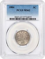 1884 5C PCGS MINT STATE 62 -  DATE - LIBERTY V NICKEL