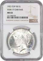 TOP 50 VAM: 1923 $1 NGC MINT STATE 65 VAM-1F, CHIN BAR PEACE SILVER DOLLAR