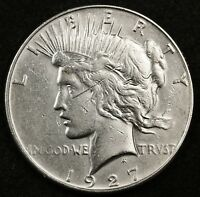 1927-S PEACE SILVER DOLLAR.  A.U. DETAIL.  132654