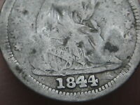 1844 P SEATED LIBERTY HALF DIME- OLD TYPE COIN