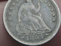 1854 O SEATED LIBERTY HALF DIME- EXTRA FINE  DETAILS