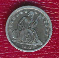 1839 SEATED LIBERTY SILVER DIME VARIETY WITH NO DRAPERY SHIPS FREE