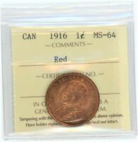 CANADA LARGE CENT 1916 RED UNC CANADIAN TPG GRADED