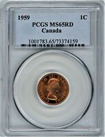 CANADA SMALL CENT 1959 PCGS MS65RD