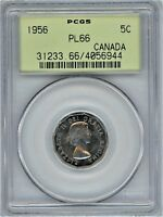 CANADA 1956 5 CENTS PCGS PL66 OGH