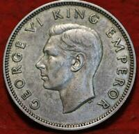 1941 NEW ZEALAND ONE FLORIN SILVER FOREIGN COIN