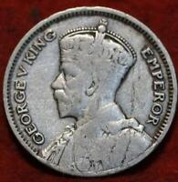 1933 NEW ZEALAND 6 PENCE SILVER FOREIGN COIN