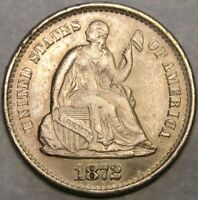 1872 S LIBERTY SEATED SILVER 1/2 DIME HIGH QUALITY APPEALN B