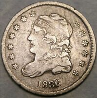 1836 CAPPED BUST SILVER HALF DIME  APPEALING 3 OVER INVERTED