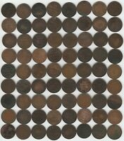 LOT OF 72 CANADIAN LARGE CENTS ASSORTED LOW GRADE COINS 1859