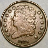 1835 CLASSIC HEAD HALF CENT  ISSUE CIRCULATED WOUNDED OBV/RE