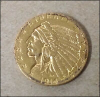 1914 UNITED STATES $2 1/2 GOLD INDIAN HEAD COIN QUARTER EAGL
