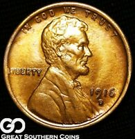 1916 D LINCOLN CENT WHEAT PENNY VERY NICE SOLID GEM BU   BET