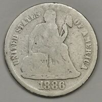 1886-S SEATED LIBERTY DIME.  CIRCULATED.  126965