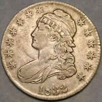 1832 CAPPED BUST LETTERED EDGE SILVER HALF DOLLAR APPEALING BOLD SHARP FEATHERS