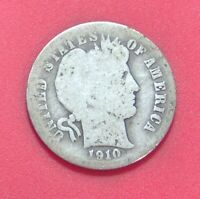 1910 D BARBER DIME SILVER TEN CENT SHIPS FREE  A506