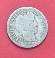 1909 BARBER DIME SILVER TEN CENT SHIPS FREE  A503